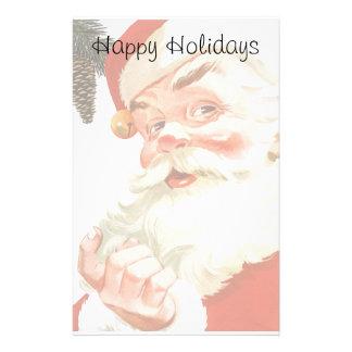Navidad del vintage, Papá Noel alegre con un Papeleria Personalizada