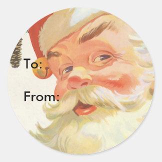 Navidad del vintage, Papá Noel alegre con un Etiquetas Redondas