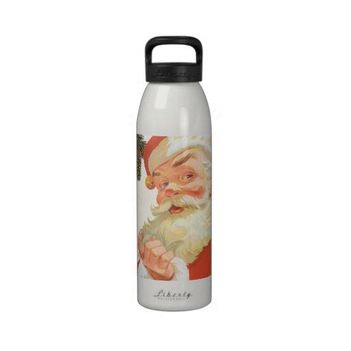 Navidad del vintage, Papá Noel alegre con un secre Botellas De Agua Reutilizables