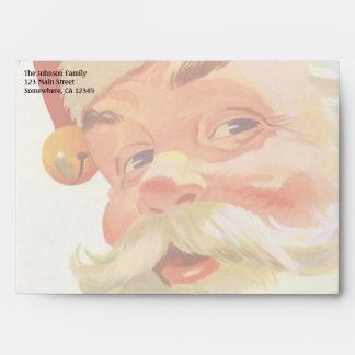 Navidad del vintage, Papá Noel alegre con un Sobres