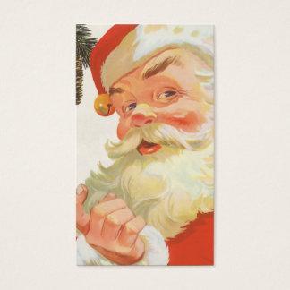 Navidad del vintage, Papá Noel alegre con un Tarjeta De Negocios