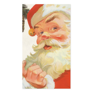 Navidad del vintage, Papá Noel alegre con un Tarjetas De Visita