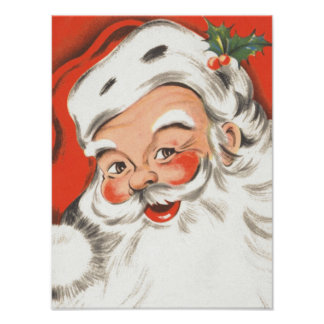 Navidad del vintage, Papá Noel alegre Poster
