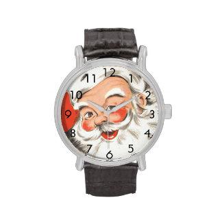 Navidad del vintage, Papá Noel alegre Relojes De Pulsera