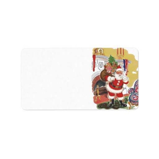 Navidad del vintage, Papá Noel con los presentes Etiqueta De Dirección