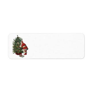 Navidad del vintage, Papá Noel con los presentes Etiqueta De Remitente