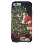 Navidad del vintage, Papá Noel con los presentes Funda De iPhone 6 Tough