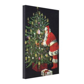 Navidad del vintage, Papá Noel con los presentes Impresión En Lienzo
