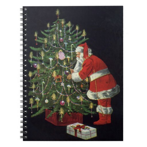 Navidad del vintage, Papá Noel con los presentes Libreta