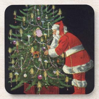 Navidad del vintage, Papá Noel con los presentes Posavasos De Bebida