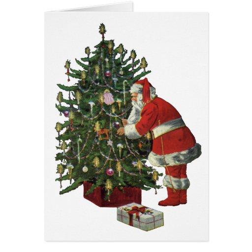 Navidad del vintage, Papá Noel con los presentes Tarjeta De Felicitación