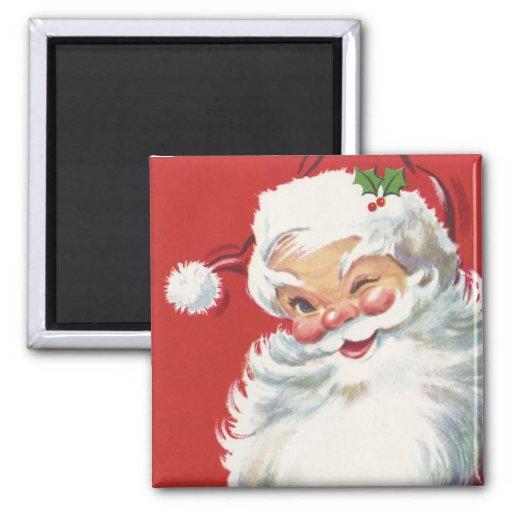 Navidad del vintage, Papá Noel de guiño alegre Imán Cuadrado