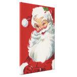 Navidad del vintage, Papá Noel de guiño alegre Impresión En Lienzo