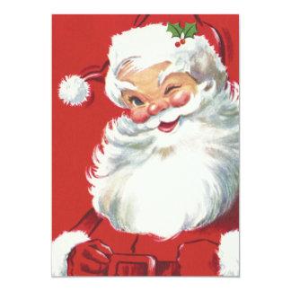 """Navidad del vintage, Papá Noel de guiño alegre Invitación 5"""" X 7"""""""