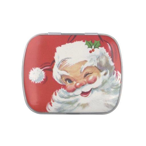 Navidad del vintage, Papá Noel de guiño alegre Jarrones De Dulces