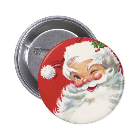 Navidad del vintage, Papá Noel de guiño alegre Pin Redondo De 2 Pulgadas