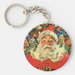 Navidad del vintage, Papá Noel en trineo con los Llavero Redondo Tipo Pin