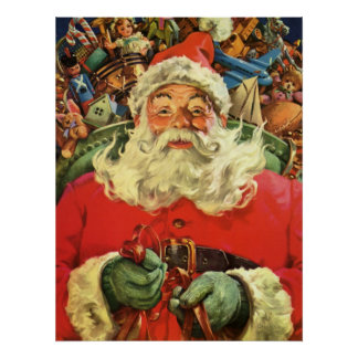 Navidad del vintage, Papá Noel en trineo con los Póster
