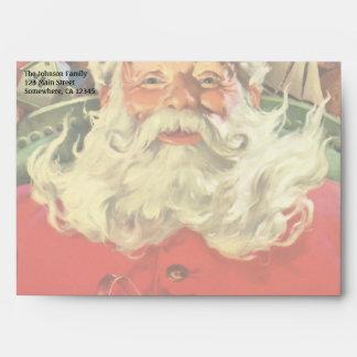 Navidad del vintage, Papá Noel en trineo con los Sobre