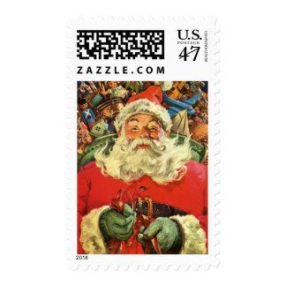 Navidad del vintage, Papá Noel en trineo con los Timbres Postales
