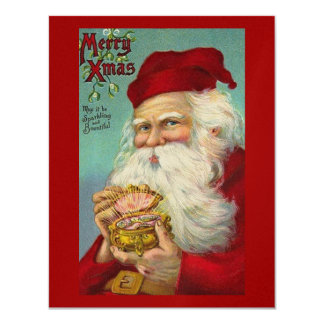 """Navidad del vintage, Papá Noel, falsa chispa Invitación 4.25"""" X 5.5"""""""