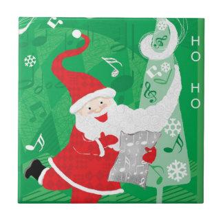 Navidad del vintage, Papá Noel que canta y que Azulejo Cuadrado Pequeño