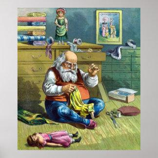 Navidad del vintage Papá Noel que hace las muñeca Posters