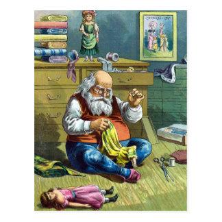 Navidad del vintage, Papá Noel que hace las muñeca Tarjeta Postal