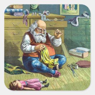 Navidad del vintage, Papá Noel que hace las Pegatina Cuadrada