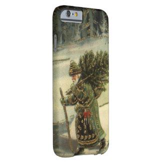 Navidad del vintage, Papá Noel que lleva un árbol Funda Para iPhone 6 Barely There