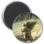 Navidad del vintage, Papá Noel que lleva un árbol Imán Redondo 5 Cm