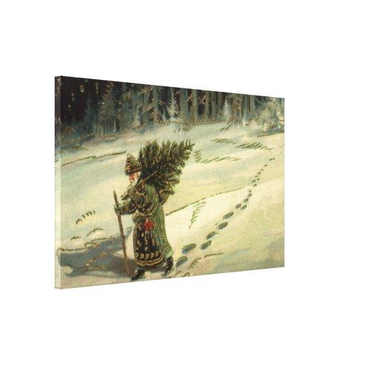 Navidad del vintage, Papá Noel que lleva un árbol Lona Envuelta Para Galerias