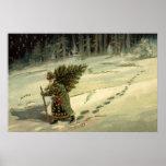 Navidad del vintage, Papá Noel que lleva un árbol Poster