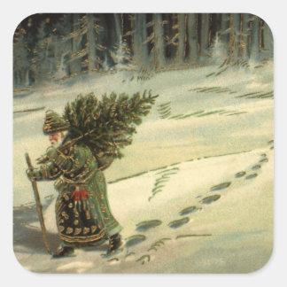 Navidad del vintage, Papá Noel que lleva un árbol Pegatina Cuadradas