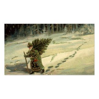 Navidad del vintage, Papá Noel que lleva un árbol Plantilla De Tarjeta De Visita