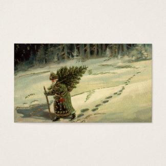 Navidad del vintage, Papá Noel que lleva un árbol Tarjeta De Negocios