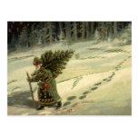 Navidad del vintage, Papá Noel que lleva un árbol Postal