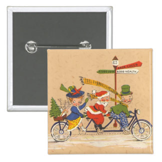 Navidad del vintage Papá Noel que monta una bici Pin