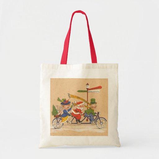 Navidad del vintage, Papá Noel que monta una Bolsa Tela Barata