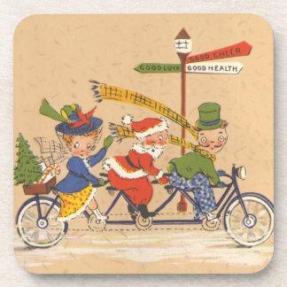 Navidad del vintage, Papá Noel que monta una Posavasos De Bebidas