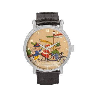 Navidad del vintage, Papá Noel que monta una Reloj De Mano