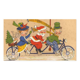 Navidad del vintage, Papá Noel que monta una Tarjetas De Visita