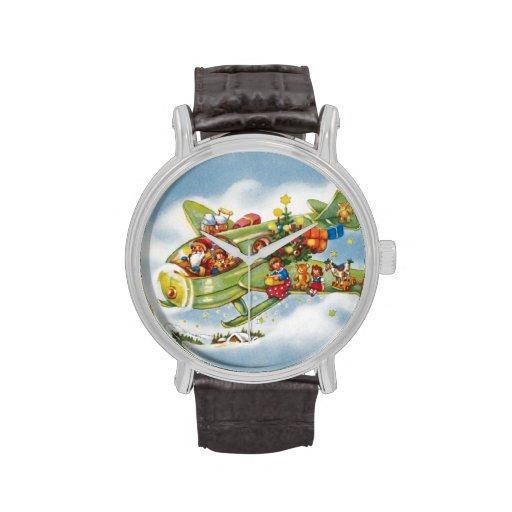 Navidad del vintage, Papá Noel que vuela su Reloj De Mano