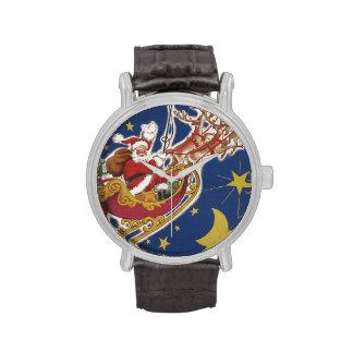 Navidad del vintage, Papá Noel que vuela su trineo Reloj De Mano