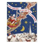Navidad del vintage, Papá Noel que vuela su trineo Postal