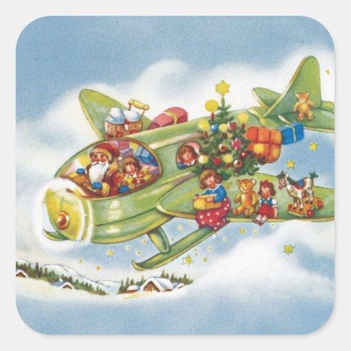 Navidad del vintage, Papá Noel que vuela un Pegatina Cuadrada