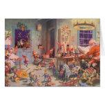 Navidad del vintage, Papá Noel y taller de los due Tarjetón