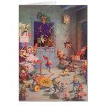 Navidad del vintage, Papá Noel y taller de los due Tarjeton
