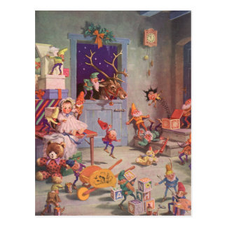 Navidad del vintage Papá Noel y taller de los due