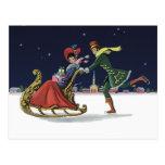 Navidad del vintage, pares en el patinaje de hielo postal